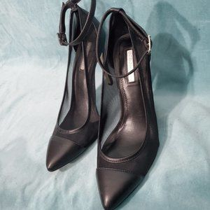 BCBG black mesh pointed toe pumps - worn once
